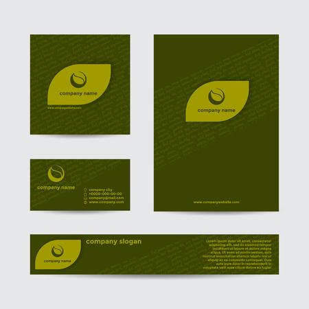 抽象緑エコ自然な背景。ベクトルは、ブランド バナーとビジネス カードのセット。