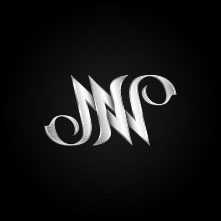 Argent monogramme lettre double N. Vector initiales d'or design pour carte de voeux de mariage et de la prime des cartes de visite. Banque d'images - 58645646