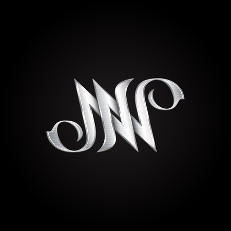Silver monogram double letter N. Vector golden initials design for wedding greeting card and premium business cards.