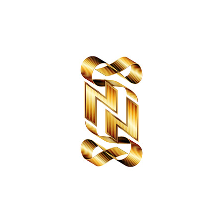 initials: Gold heraldic monogram double letter N with ribbons. Vector golden initials design for wedding greeting card and premium business cards.