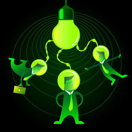 joining forces: Three green neon office men with space helmet on their heads connected to the light bulb. Teamwork and one idea for startups. Illustration