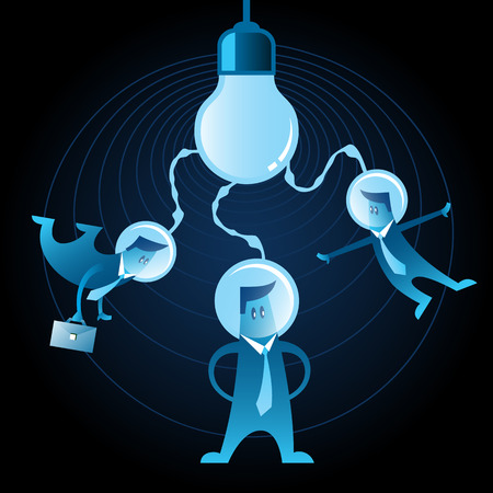 joining forces: Three blue neon office men with space helmet on their heads connected to the light bulb. Teamwork and one idea for startups. Illustration