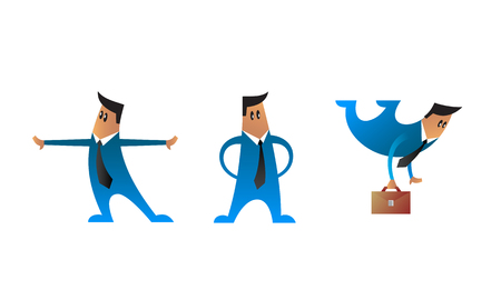 impulse: Set of  business characters. Three vector office men in blue suits. Flat style. Illustration