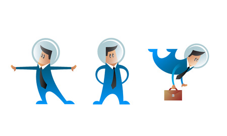 spacesuit: Set of business characters with space helmet on their heads. Three vector office men in spacesuit. Flat style.