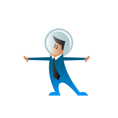 bowing: Flat character in a suit and tie with space helmet on his head. Cartoon office worker with his hands divorced in the sides. Illustration
