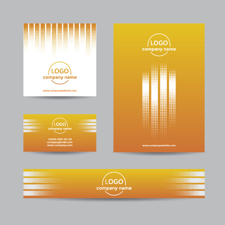 halftone cover: Abstract halftone corporate set of business card, cover, and banner. Vector yellow background for company branding with dots. Illustration