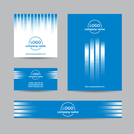 halftone cover: Abstract halftone corporate set of business card, cover, and banner. Vector blue background for company branding with dots.