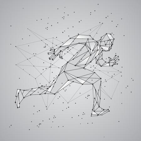ランニング姿の人間のポリゴン メッシュのシルエット。ベクター低ポリ黒線とドットの構造体。多角形のスポーツの背景。