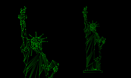 election night: Neon green Statue of Liberty illustration. Polygonal mesh Independence Day background with a monument in New York City. Vector low poly lines and dots.