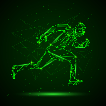 Polygon mesh silhouette of running man. Vector low poly neon green lines and dots structure. Polygonal sports background. Иллюстрация