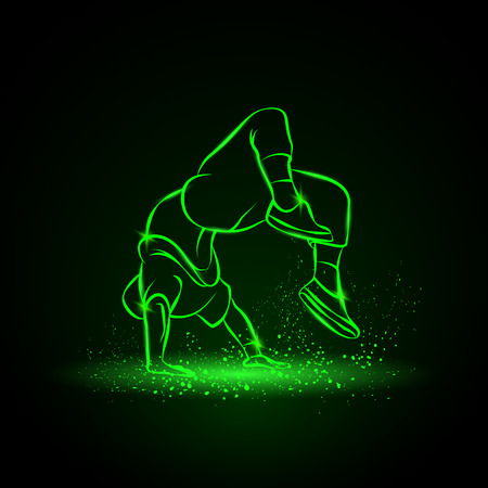 ブレイク ダンサー後ろ宙返りを行います。男はヒップ ・ ホップ スタイルを踊る。黒背景のダンサー ネオン図。
