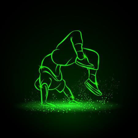 Breakdancer doing a back flip. The man is dancing hip hop style. Dancer neon illustration on a black background.