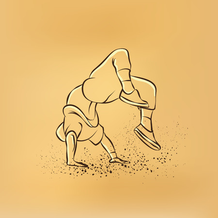 backflip: Breakdancer doing a back flip. The man is dancing hip hop style. Bboy retro drawing illustration on the retro background.