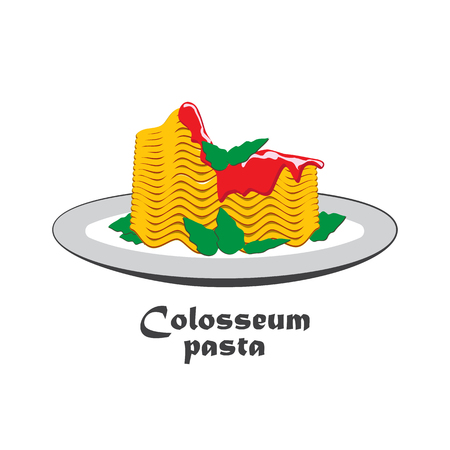 Pasta on a plate that looks like a Colosseum. Italian restaurant template.