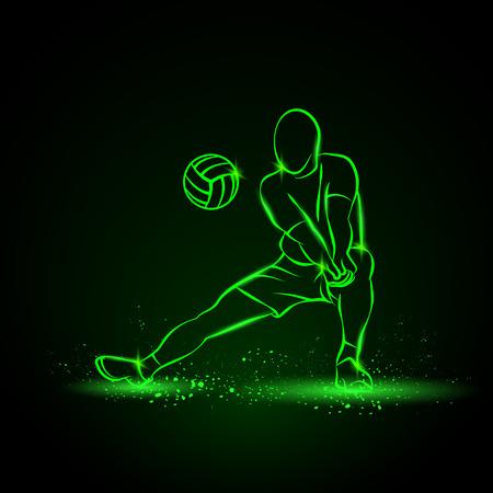 balon de voley: jugador de voleibol juega voleibol. Ilustración de neón sobre un fondo negro. Vectores
