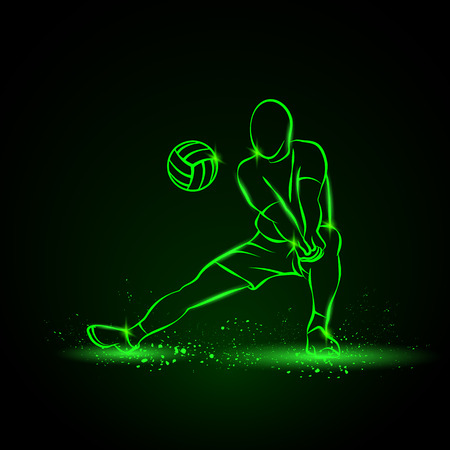 Volleyball player plays volleyball. neon illustration on a black background.