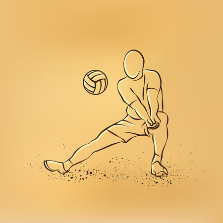 Volleyball player plays volleyball. retro drawing illustration on the retro background. Illustration