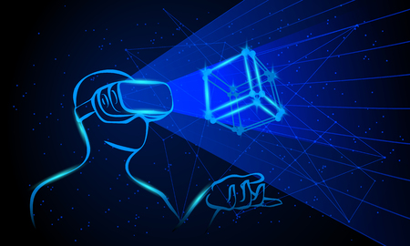 Man wearing virtual reality goggles. Man controls the 3D object by means his hands. Blue neon high-tech illustration on a black background.