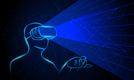 Man wearing virtual reality goggles. Blue neon high-tech illustration on a black background.