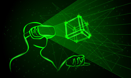 Man wearing virtual reality goggles. Man controls the 3D object by means his hands. Green neon high-tech illustration on a black background.