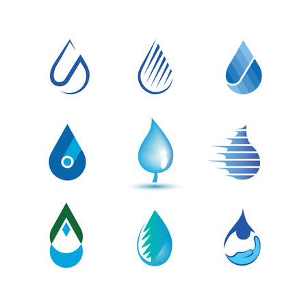 set drop of water . Abstract fluid icons. Blue ecological dynamic water symbols.