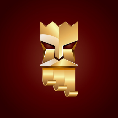 king neptune: Gold head of king on dark red background. Abstract metallic polygonal of God with golden crown.