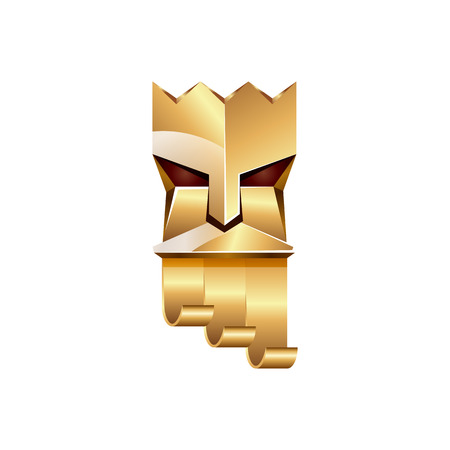 king neptune: Gold head of king on white background. Abstract metallic polygonal of God with golden crown.