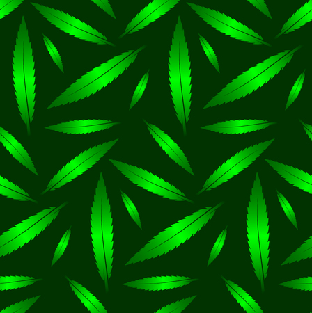 neon plant: Seamless green neon leaves pattern on dark green background. Packing or wrapping paper design texture template.