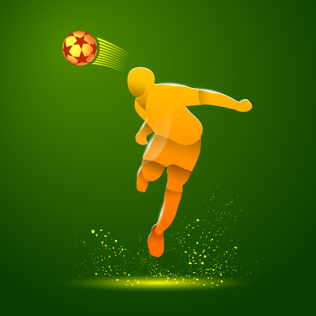 Abstract illustration of soccer player that hits the ball by his head. Vector yellow silhouette of a footballer in the jump and soccer ball on a green background.
