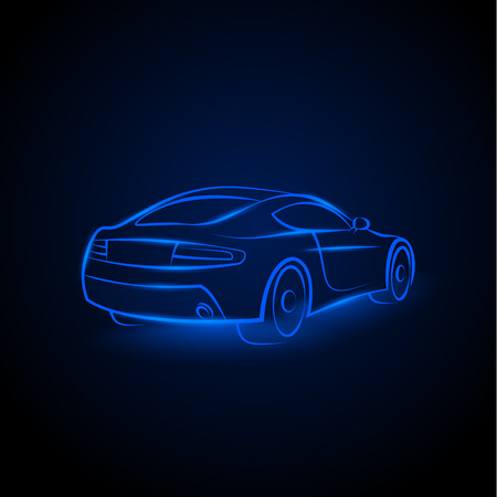 Vector red neon car. Linear auto illustration on a black background.