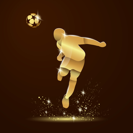 Abstract illustration of soccer player that hits the ball by his head. Vector golden silhouette of a footballer in the jump and gold soccer ball on a dark background.
