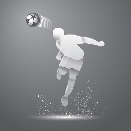 footballer: Abstract illustration of soccer player that hitting the ball by his head. Vector gray silhouette of a footballer in the jump and soccer ball. Sport origami background. Illustration