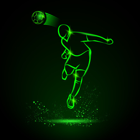 footballer: Green neon illustration of soccer player that hitting the ball by his head. Vector silhouette of a footballer in the jump and soccer ball. Sport energy background.