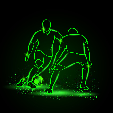 defender: Two soccer players fighting for the ball. Forward and defender playing football. Sport vector neon illustration.