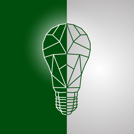 Abstract polygonal mesh style light bulb with the division on a green and white background.