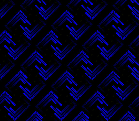 Blue neon tech seamless pattern. Laser mark in the square form. The lights in gradation.