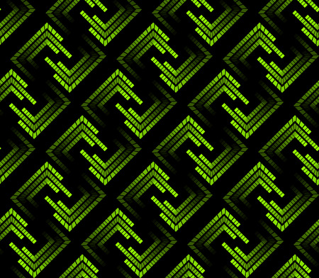 Green neon tech seamless pattern. Laser mark in the square form. The lights in gradation.