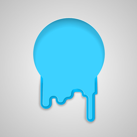 water flows: Round hole with water flows, flat style. Blue origami background for text with flowing liquid.