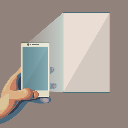 larger: Smartphone in hand. Focusing on the larger screen. Isolated flat style illustration.