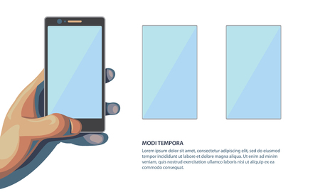 multitask: Application Template for presentation your phone with additional screens. Isolated flat style illustration with space for text on white background.