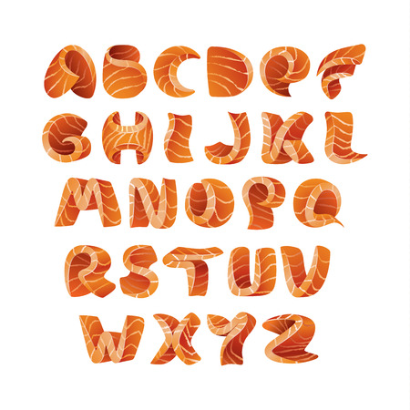 Sushi font template. Salmon fish letter A-Z.