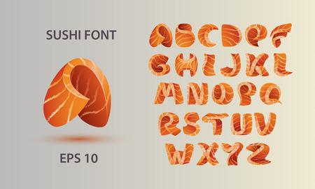 salmon fish: Sushi font template. Salmon fish letter A-Z.
