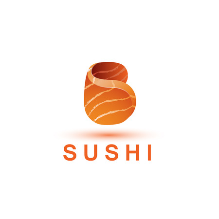 salmon fillet: Sushi logo template. The letter B looks like a fresh piece of salmon fish. Illustration