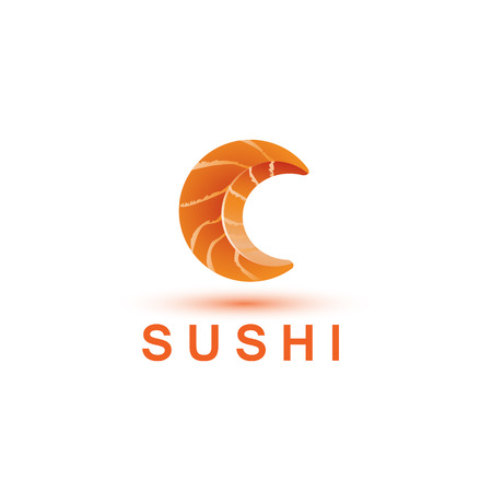 Sushi logo template. The letter C looks like a fresh piece of salmon fish. Illustration