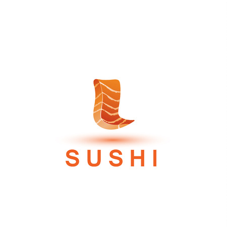 Sushi logo template. The letter L looks like a fresh piece of salmon fish. Illusztráció