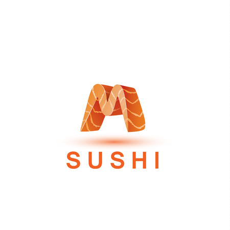 salmon fillet: Sushi logo template. The letter M looks like a fresh piece of salmon fish.