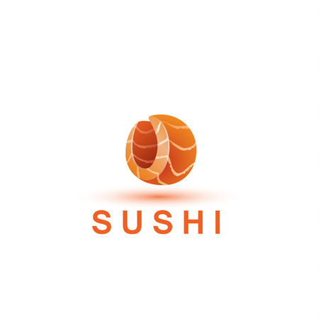 salmon fillet: Sushi logo template. The letter O looks like a fresh piece of salmon fish.