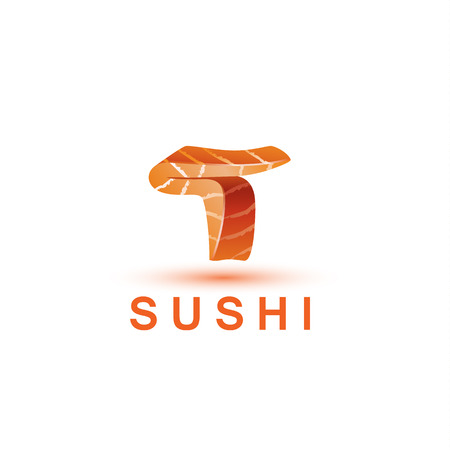 salmon fillet: Sushi logo template. The letter T looks like a fresh piece of salmon fish.