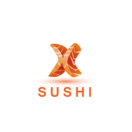 salmon fish: Sushi logo template. The letter X looks like a fresh piece of salmon fish.