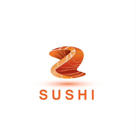 salmon fillet: Sushi logo template. The letter Z looks like a fresh piece of salmon fish.